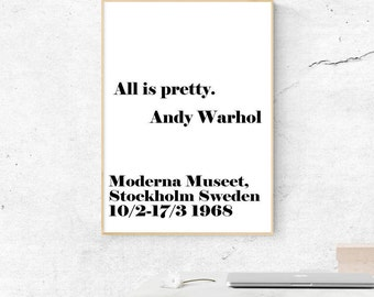 All Is Pretty Print, Andy Warhol Poster, Digital Print, Andy Warhol Quotes, All is pretty Wall Art, Gifts for Artists, Typography Wall Decor