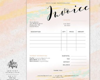 Invoice Template Photography Invoice Business Invoice - Photographer invoice template