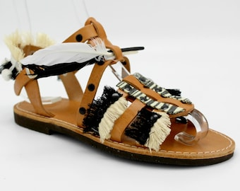 SALE 38 us 7-7.5Womens Sandals, Leather Sandals, Black Sandals, Flat Sandals, Women's gladiators, Gypsy sandals