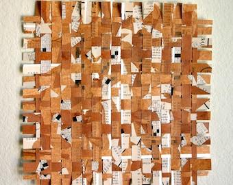 Crossword Paper Weaving- 10x10- Handwoven- Puzzle Art- Handwoven Art- Brown, Rust, White, Black