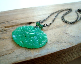 Floral Glass Cabochon Necklace Emerald Green Vintage May Birthstone Sterling Silver Mothers Day Spring Holiday Jewelry Gifts Under 50