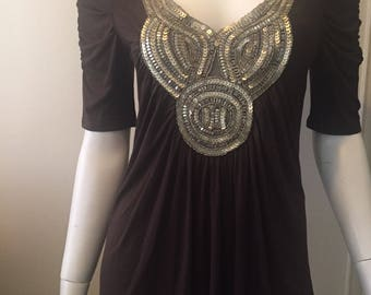 Vintage sequin embellished tee shirt tunic gypsy  Made In France soft stunning size S