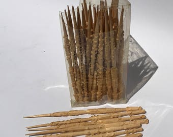 Vintage Hand Carved Wooden Hors d'oeuvres Picks Extra Large Made in Portugal B. Altman and Co.