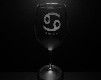 Cancer Symbol 13 Ounce Wine Glass