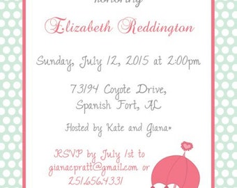 Mint and Dot with Pink Umbrella Shower Invitation