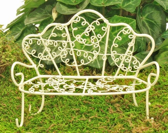 Wire Garden Bench, Miniature Bench, Fairy Garden Accessory, Miniature Garden, Fairy Garden Furniture, Fairy Bench