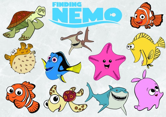 finding nemo clipart svg cut file 300 ppi rh etsy com finding nemo dory clipart finding nemo characters clipart
