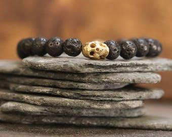 14KGF Brass Mini Skull Bracelet with Lava Rock Beads -Skull bracelet - lava bracelet - gold skull braceelt