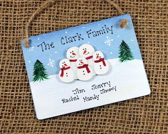 Personalized Snowman Family Ornament~Handpainted~Wood~Christmas~Custom~Keepsake