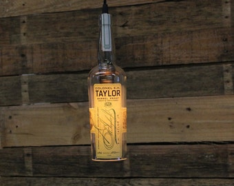 Colonel E.H. Taylor Barrel Proof Pendant Light, Upcycled Industrial Hanging Light, Handmade Bottle Light Fixture, Dorm Lighting, Apartment