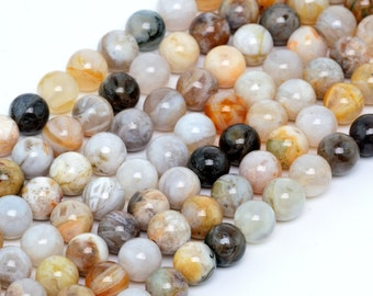 "8MM Bamboo Agate Natural Gemstone Round Shape Full Strand Loose Beads 15.5"" (100160-261)"