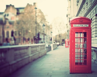 London Wall Art, London Photography, Red Phone Box, Travel Photography Print, British Wall Decor, England - Hanging on the Telephone
