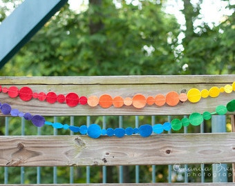 Rainbow Felt Circles Garland with Bakers Twine