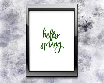 Hello Spring Quote Wall Art Digital Print