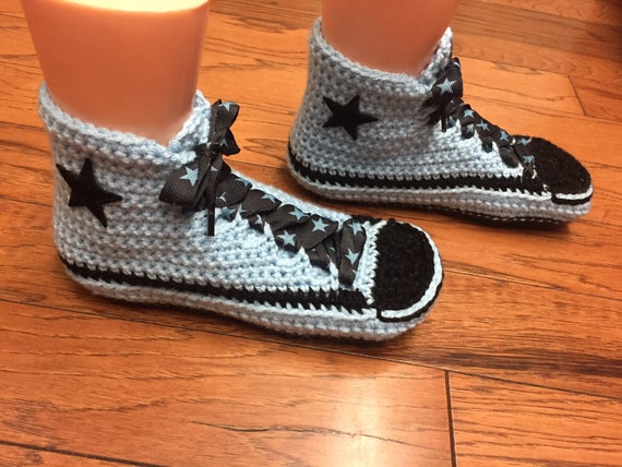 sneaker 8 348 crocheted top slippers inspired 6 tennis top converse Womens sneakers high slippers high Converse slippers shoe converse blue PXHqPUw