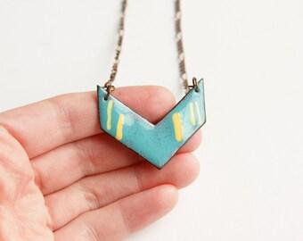 Enamel chevron necklace - copper jewelry handmade, blue chevron jewellery, business casual, bold v necklace, metalsmith jewelry