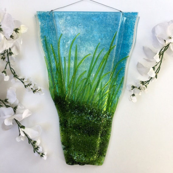 Large Grass with Land Scape. Wall Art, Fused Glass, Wall Vase, Glass Pocket
