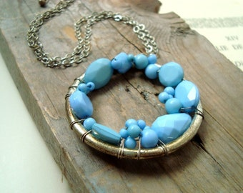 SALE Blue Lucite Bead Circle Pendant Necklace Spring Fashion Beachy Summer Statement Jewelry
