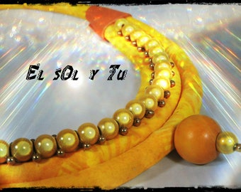orange necklace EL SOL Y TU - ⅛ of yellow - magic beads sewn batik fabric - leather