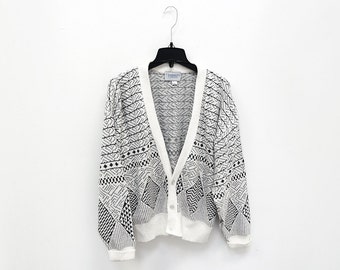 Men's vintage black and white geometric pattern cardigan with buttons