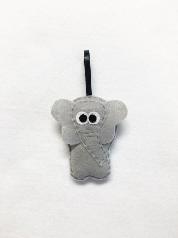 Elephant Ornament, Christmas Ornament, Eleanor the Elephant, Felt Animal, Zoo Animal, Holiday Decoration