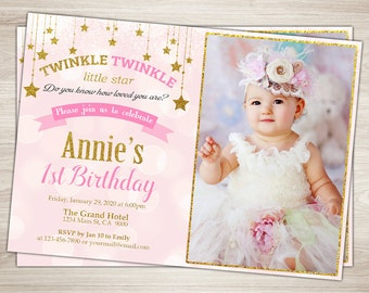 Pink and Gold First Birthday Invitation. Twinkle Twinkle Little Star Girl 1st Birthday Invitation. Gold Glitter. 2nd Birthday Party Invite