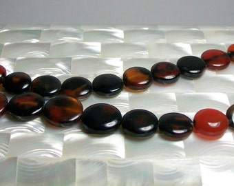 24pc Dream Agate Coin shape Bead strand Brown Rust Black Jewelry Jewellery Craft Supplies