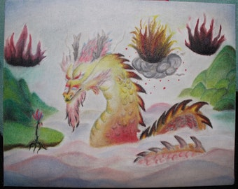 Dragon in Rainbow Lakes - water lakes rainbow - oceans blue - dragons 2018 new painting