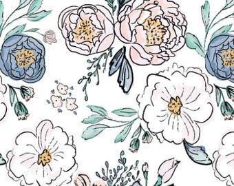 Pink Floral Baby-Bettwäsche - Spannbettlaken Kinderbett / Floral Baby Bettwäsche Vintage Rose Kinderbett Blatt /Mini Krippe Blätter / konturiert Wickeltischauflage /