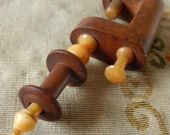 Victorian treen maple sewing clamp with 2 spools/bobbins antique small sewing collectible needlework wood vegetable ivory nut clamp