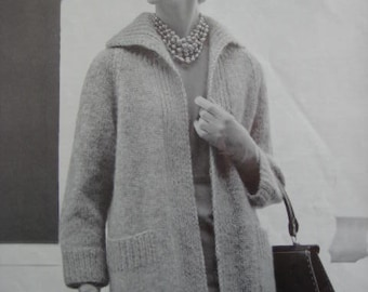 1960's Vintage Knitting Pattern Women's Sweater Coat PDF 1156
