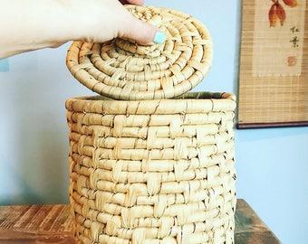 Dry Leaf Coil Basket with Lid // Canister // Nursery Decor // Boho Decor