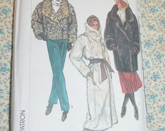 80s Simplicity 7183 Misses Lined Jacket in Two Lengths and Coat Sewing Pattern - UNCUT -Size Petite ( 6 - 8)