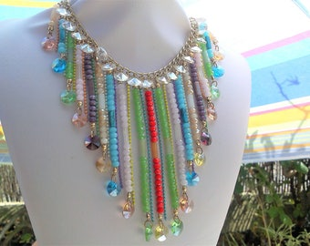 MULTICOLORED WATERFALL NECKLACE