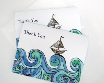 Boat Cards - Sailboat on Ocean Waves Thank You Notes - Blue Green Watercolor Art Thank You Cards - Set of 4