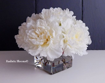 White/offwhite, silk, peony/peonies, glass vase, faux water, acrylic, illusion,  Real Touch flowers, floral arrangement, centerpiece, gift