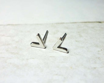 V Shaped Stud Earrings, Silver V Earrings