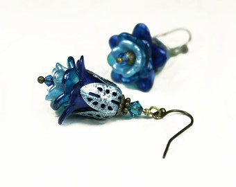 Blue Ombre Hand Dyed Lucite Flower Earrings with Swarovski Crystals, Antiqued Brass, Vintage Victorian Style, Gifts for Her