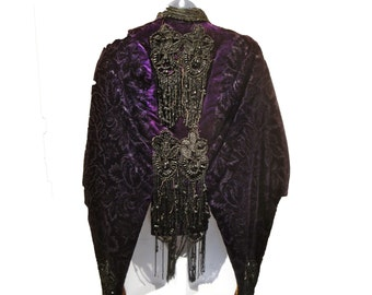 Victorian Purple Beaded Velvet Jacket  Saffron Lining
