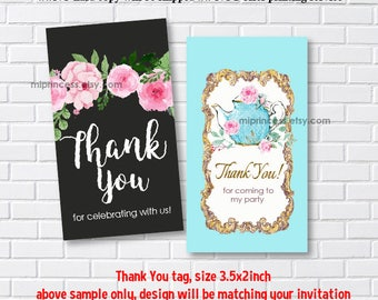 Reserved for someone purchased invitation - ADD ON option, Matching 3.5x2inch , thank you tag, gift tag