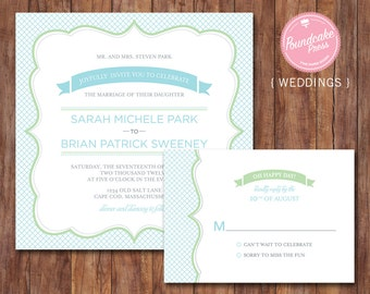 Crosshatch Wedding Invitation / Casual Wedding Invitation