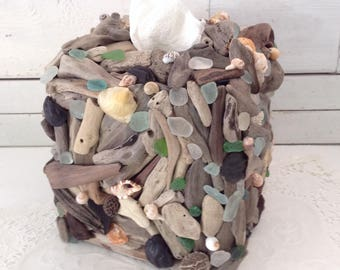 Driftwood Sea Glass Shell Tissue Cover - Coastal Decor - Beach Cottage - Housewarming - driftwood Decor  - beach bathroom - hostess gift