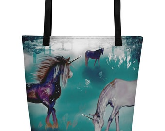 Beach Bag colorful Galaxy Unicorns