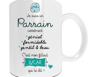 Mug PARRAIN à personnaliser avec votre prénom - Cadeau personnalisé pour parrain - cadeau personnalisé naissance - baptême - mug parrain …
