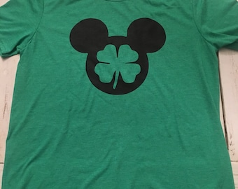 Mickey 4 Leaf Clover Unisex T Shirt - St Patricks Day - Adult/Youth Sizes - Disney Shirt - Mens - Womens - Youth