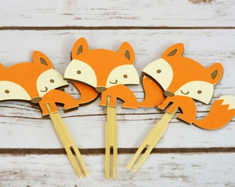 Woodland Fox Cupcake Toppers, Woodland fox party, fox party, Birthday Party, Baby Shower, Party Decorations, Fox decor, Cupcake toppers