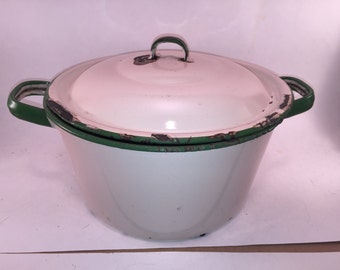Vintage Tan and Green Enamelware Pot with Lid