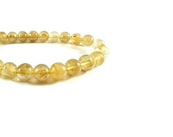 4MM  Natural Golden  Rutilated Quartz  Beads  ,  15.5 Inch Strand