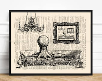 Octopus Beach Print, Tentacles Steampunk, Sister In Law Gifts, Cool Cubicle Decor, 13th Birthday Print, Whimsical Poster Geek Girlfriend 238