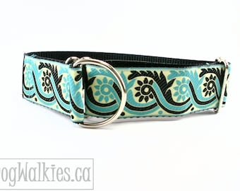 """Rhapsody in Teal Dog Collar - 1.5"""" (38mm) Wide - Choice of collar size and style - Wide Martingale or Side Release - Black - Aquamarine"""